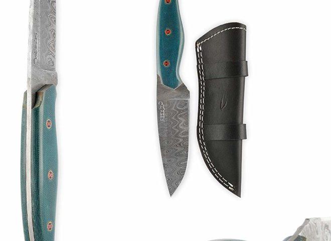 Perkin FB405 Handmade Damascus Steel Hunting Knife with Sheath