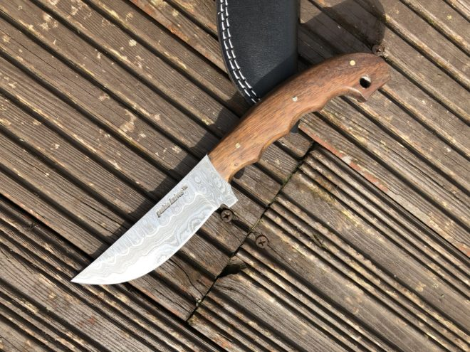 Perkin Knives 6400 Handmade Damascus Steel Hunting Knife with Sheath