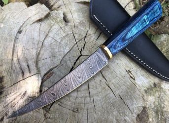 Perkin Handmade Knife Damascus Steel Hunting Knife with Sheath BN1000