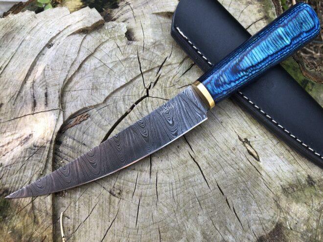 Perkin Handmade Knife Damascus Steel Hunting Knife with Sheath BN1000