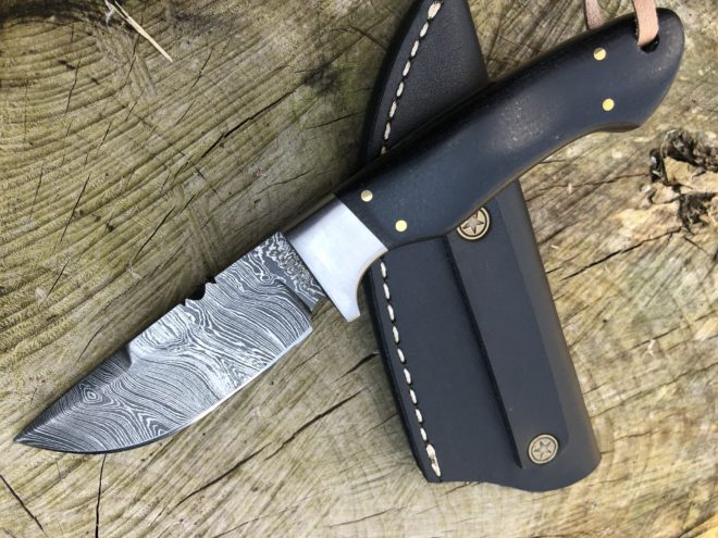Perkin Damascus Steel Hunting Knife Bushcraft Camping Outdoor- SK1100