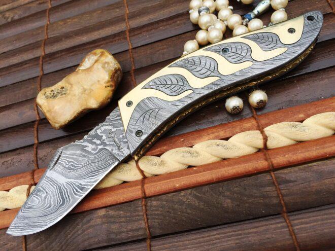 Damascus Steel Knife Folding Pocket Knife Handmade Knife