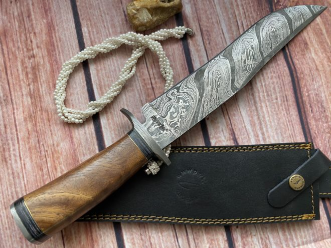 Perkin Hunting Knives 15 Inches Damascus Steel Knife Fixed Blade Knife Bowie Knife with Sheath