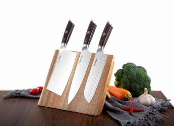 Chef Knife Set With Block Kitchen Knife Magnetic Holder