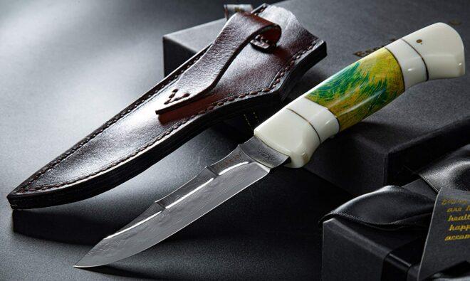 Perkin Damascus Hunting Knife With Sheath Handmade Damascus Steel VG10 Blade Fixed Blade Hunting Knife CBHK3508