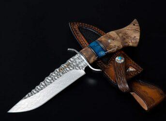 Perkin Fixed Blade Hunting Knife With Sheath Handmade Damascus Steel VG10 Blade