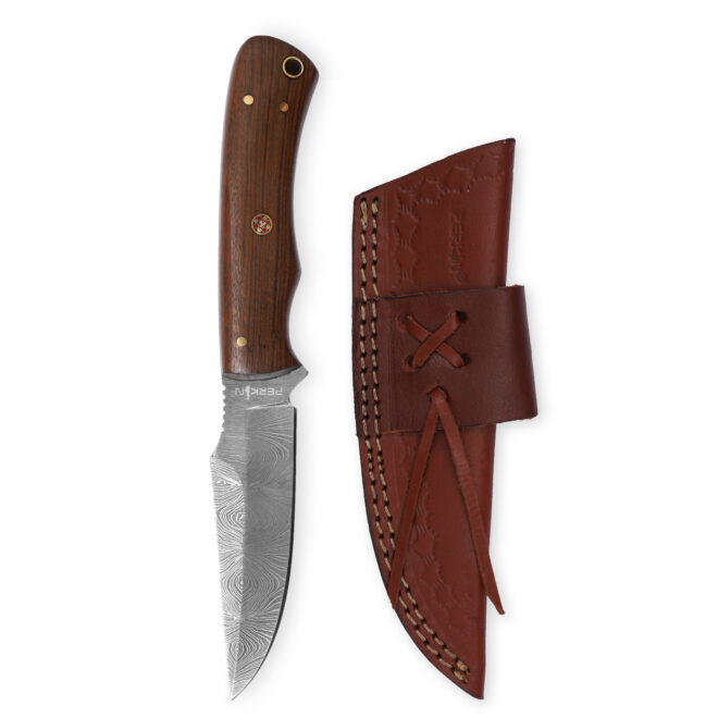 Perkin 8 Inches Damascus Steel Hunting Knife With Sheath T200