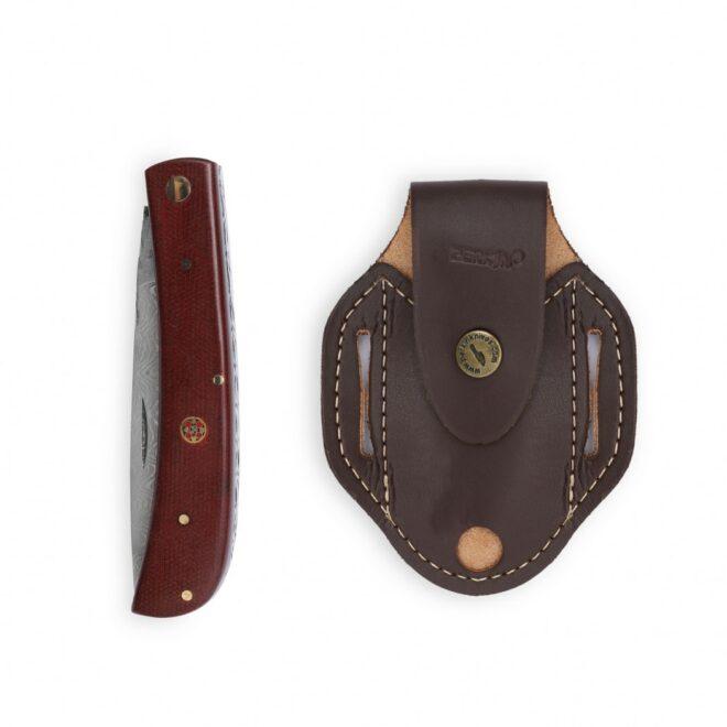 Perkin Damascus Pocket knife Stainless Damascus Steel Folding Knife Hunting Knife with Sheath SDF201