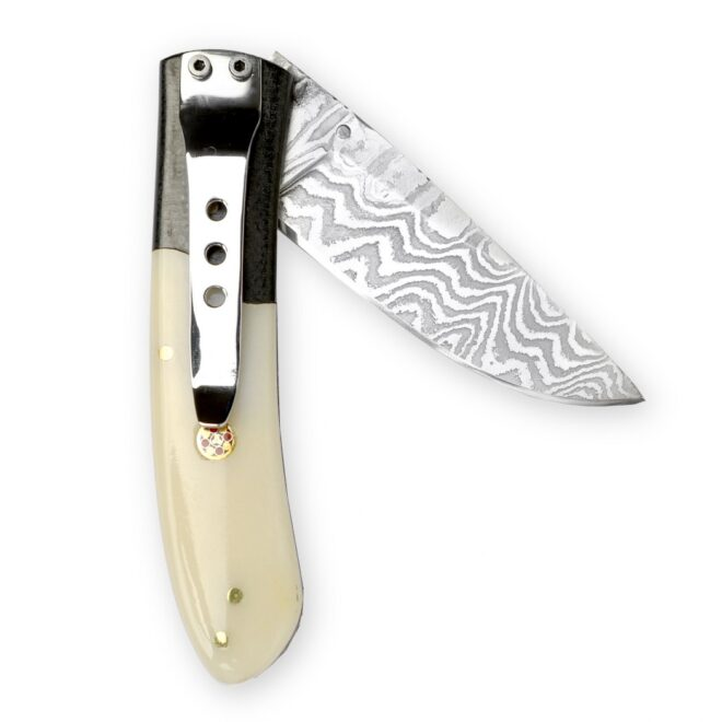 Perkin Damascus Pocket knife with Pocket clip Stainless Damascus Steel Folding Knife SDF100
