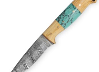 Perkin Damascus Hunting Knife With Sheath Fixed Blade Knife Bushcraft Knife Full Tang - T100