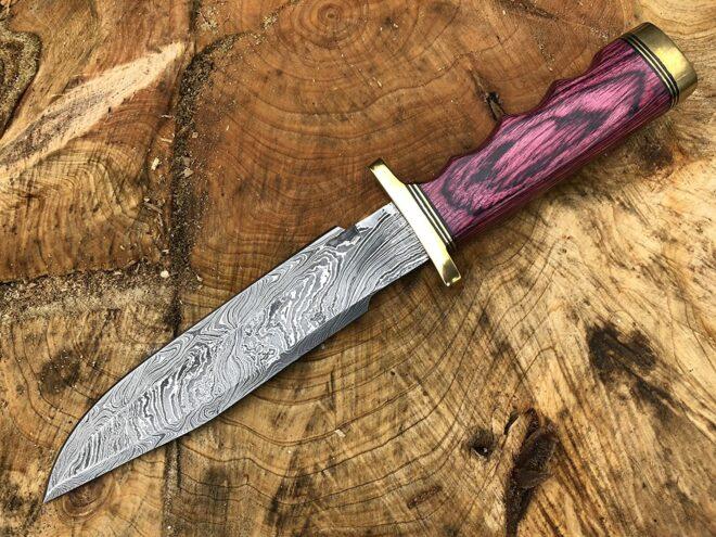 Perkin Knives Damascus Steel Hunting Knife Handmade Knife Fixed Blade - RHB